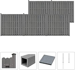 Tidyard Conjunto de 5 Paneles de Vallas Cuadradas para Jardín,Barrera de Jardín,Valla Residencial para Mayor Privacidad y Seguridad,WPC,Gris 932x185cm: Amazon.es: Hogar