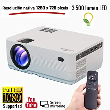 Proyector Full HD 1080P, Unicview HD320 (2019 Nuevo), Proyector 3.500 lúmenes Youtube USB Multimedia Mirroring Portátil LED Cine en casa 1920x1080 ...