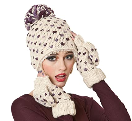 43cefa15c Socks Uwear Ladies Hand Knitted Hearts Design Fashion Winter Set. Beanie  Hat Plus Headband & Mitt Gloves Ivory-Purple