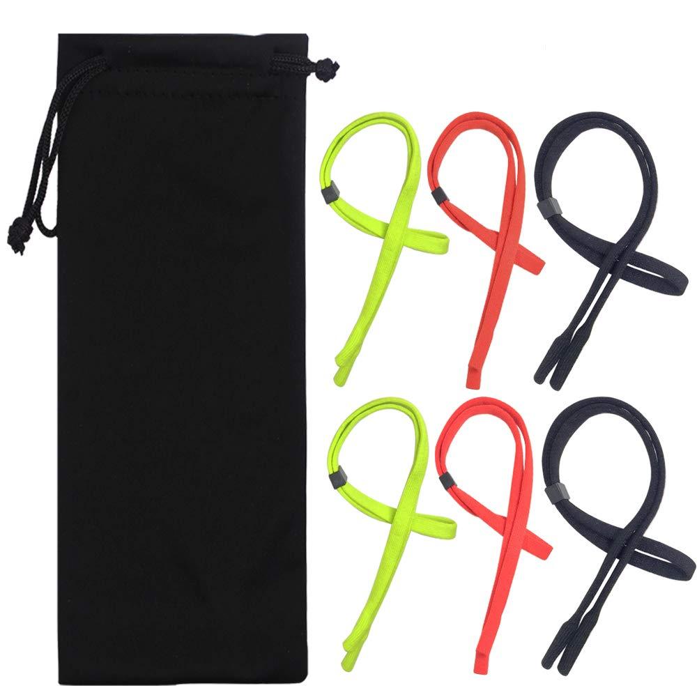 6 Packs Adjustable Eyewear Retainer, YuCool Universal Eyeglasses Strap Chain-3 Colors
