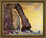 "The Rock Needle Seen through the Porte dAval by Claude Monet - 21"" x 26"" Framed Canvas Art Print - Ready to Hang"