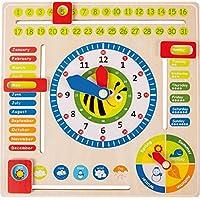 Lerntafel Datum, Uhr- & Jahreszeiten EN aus Holz, farbenfrohe Lerntafel enthält Datum, Uhrzeit und Jahreszeiten, mit drehbaren Zeigern und schiebbaren Kästchen, für Kinder ab 3 Jahre