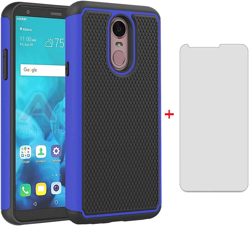 Phone Case for LG Stylo 4 with Tempered Glass Screen Protector Cover Cell Accessories Slim Thin Rugged Heavy Duty Hybrid Protective Full Body Stylo4 Plus LGstylo4 4+ Q Stylus Stlo4 Q8 ThinQ Women Men