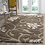 """neutral living room Safavieh Florida Shag Collection SG464-7913 Smoke and Beige Area Rug (5'3"""" x 7'6"""")"""