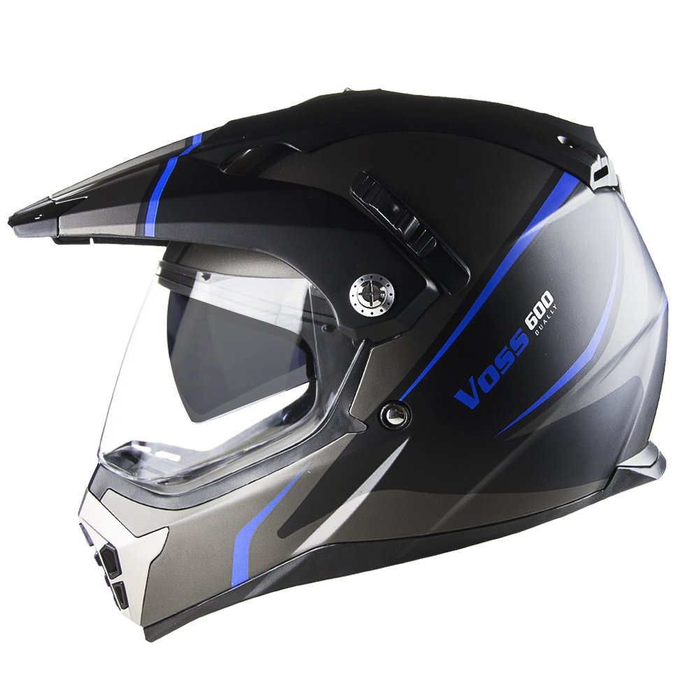 Amazon.com: Voss 600 Dually Blue Thunderbolt Dual Sport helmet with Integrated Sun Lens and Removable Peak DOT - XL - Matte Blue Thunderbolt: Automotive