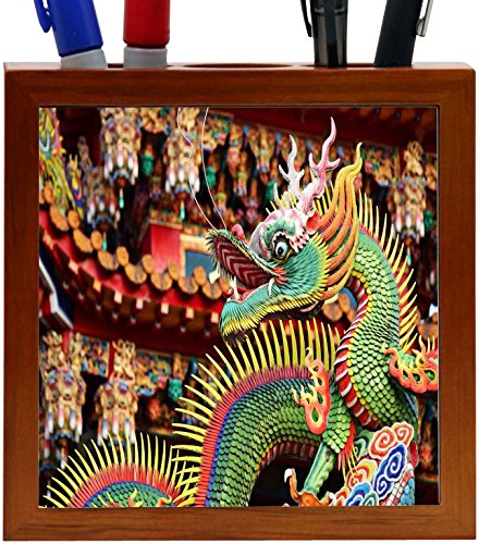 Asian Dragon Tile - Rikki Knight Asian Decorative Chinese Dragon Colorful Dragon Design 5-Inch Tile Wooden Tile Pen Holder (RK-PH45066)