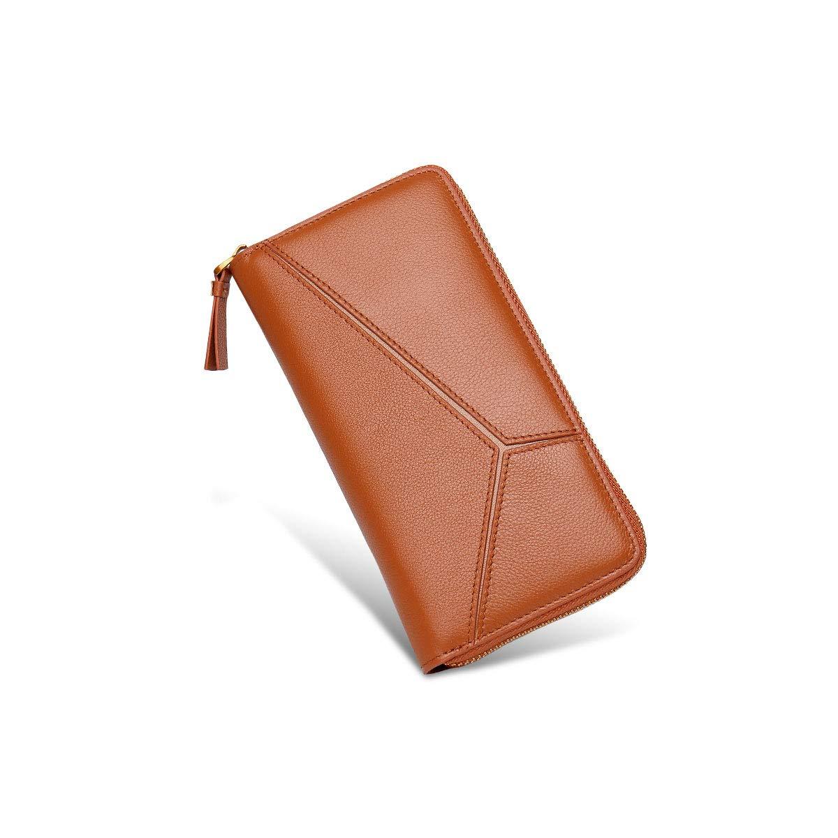 orange Leather Zipper Wallet, Clutch, Big Travel Wallet Handbag, Ladies Boxed Gift, Card Package