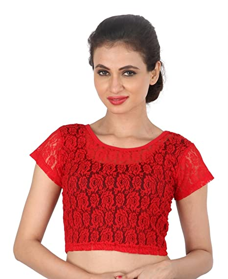e7bd2a6ca7e Areum Womens Girls Lycra Red Collared Zipper Lace Strechable Readymade  Short Net Sleeves Saree Blouse Crop Top (Fits Bust Size 30-36 ''):  Amazon.in: ...