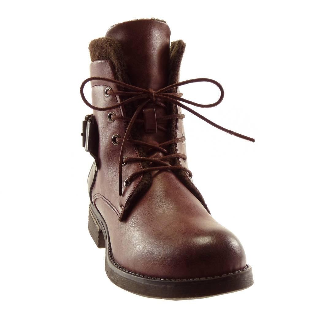 Angkorly - - - Damen Schuhe Stiefeletten - Combat Stiefel - Biker - Vintage-Stil - Spitze - Pelz - Schleife Blockabsatz high Heel 3.5 cm e78534