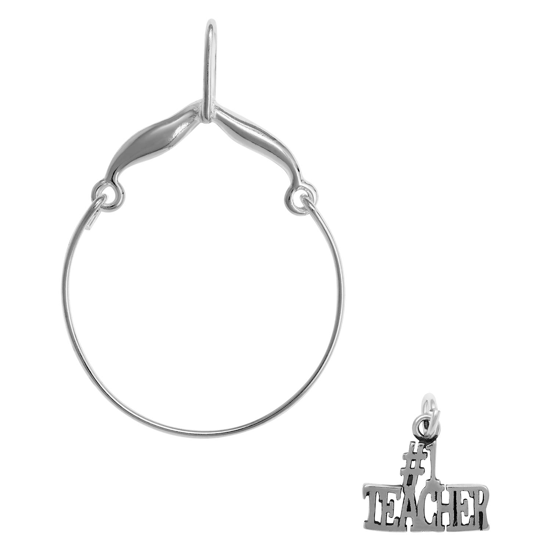 Raposa Elegance Sterling Silver # 1 Teacher Charm on Optional Charm Holder