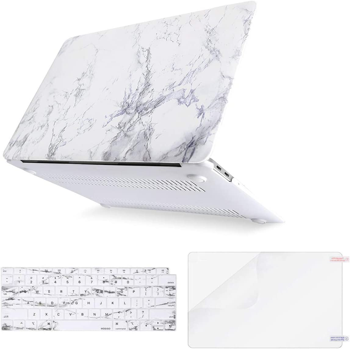 MOSISO MacBook Air 13 inch Case 2020 2019 2018 Release A2179 A1932 Retina Display, Plastic Pattern Hard Shell & Keyboard Cover & Screen Protector Only Compatible with MacBook Air 13, White Marble