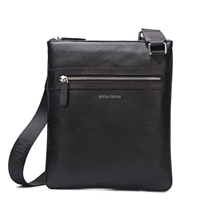 57fd17fcfa Bison Denim Mens Leather Shoulder Bag Handbags Briefcase for the Office  Messenger Bag Large Enough to Hold iPad Air iPad Mini (Black N2424-1B)  ...