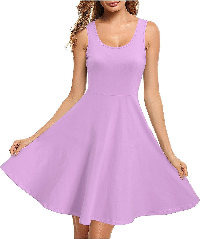 STYLEWORD Women's Summer Dress Casual Sleeveless Cotton Skater Midi Dresses