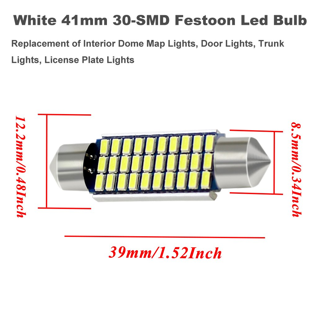 Boodled 10PCS 36mm C5w Festion LED Bulb 3014 27-SMD Chipsets Canbus Error Free C10w LED Bulbs For Auto Interior Reading Lights Car Dome Map Lights.12V White.