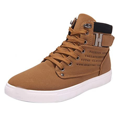 XINANTIME - Zapatos de hombre Moda Zapatillas de deporte de hombres de moda Oxfords Casual Cima mas alta Deporte corriendo Zapatos (42, Caqui): Amazon.es: ...