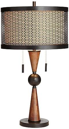 Hunter Bronze And Cherry Wood Table Lamp Amazon Com