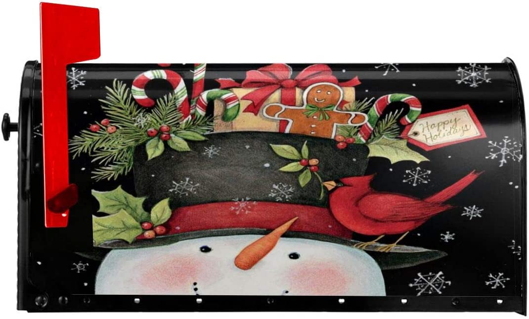 Foruidea Deer and Snowman Mailbox Covers Magnetic Mailbox Wraps Post Letter Box Cover Standard Oversize 21 X 18 MailWrap Garden Home Decor