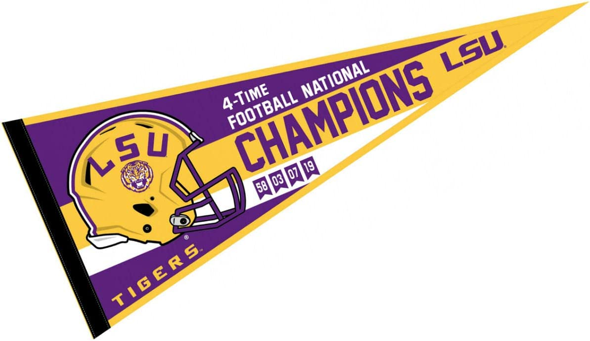 Louisiana State LSU Tigers 4 Time Football National Champions Banner