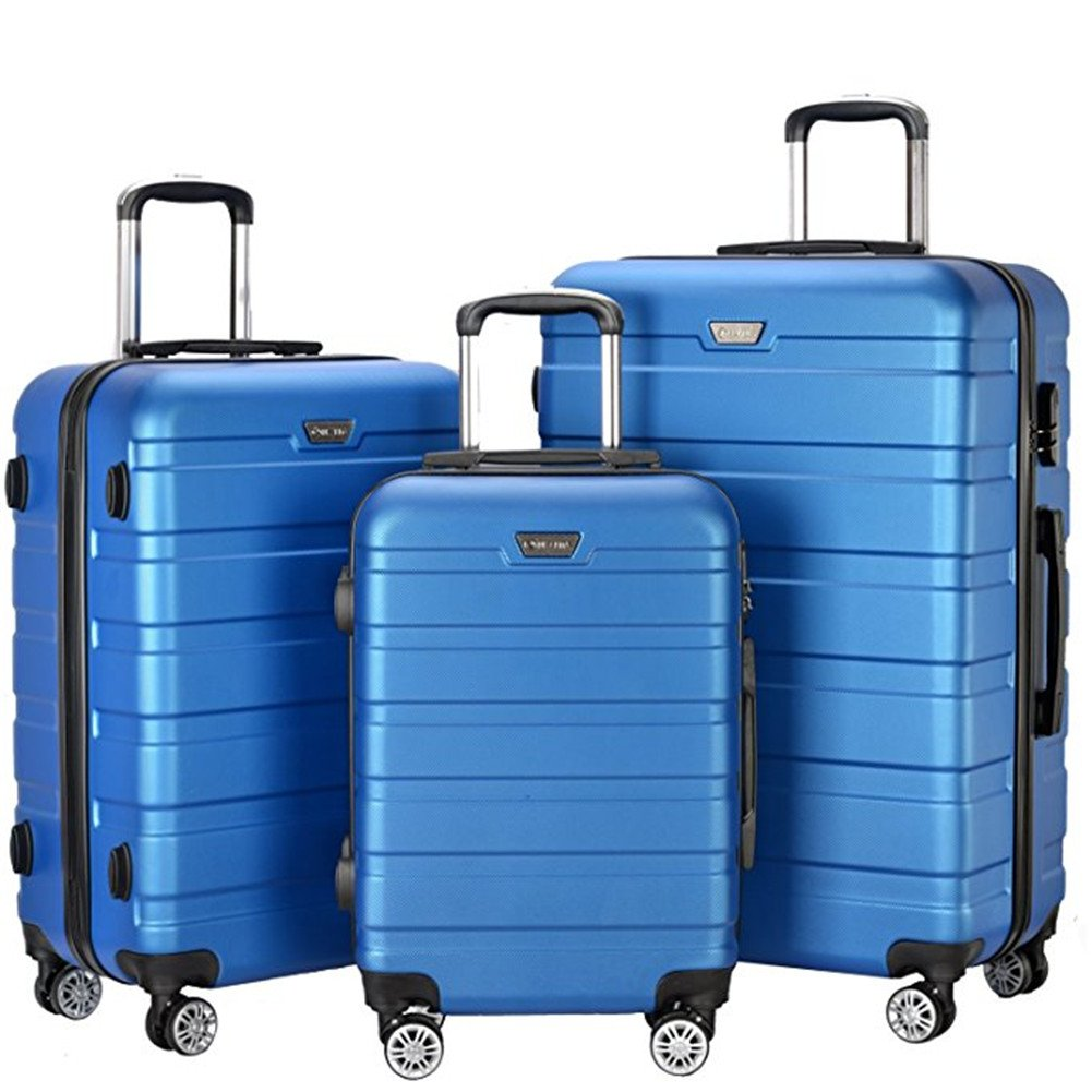 Resena 3 Pieces Hardside Spinner Luggage Sets ABS Travel Lightweight Carry On Suitcase (20'' 24'' 28'' Standard Size) (Sky Blue)
