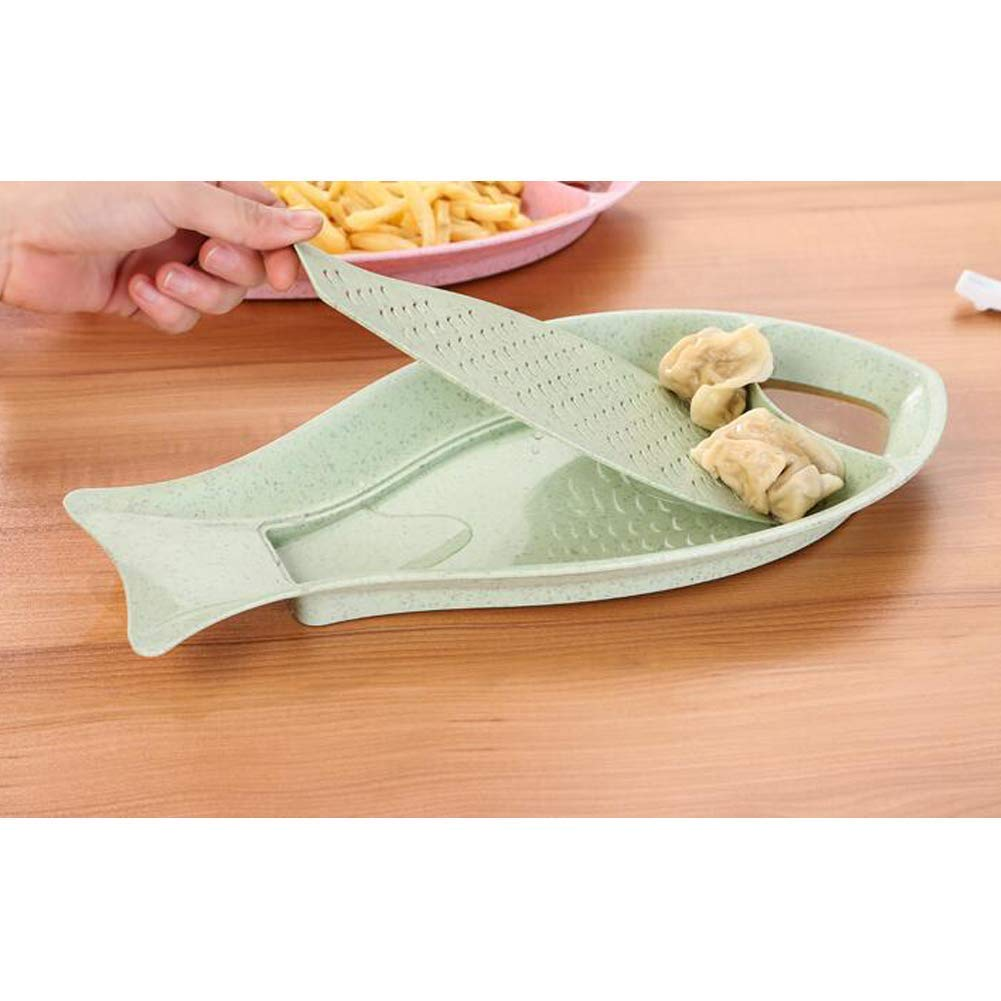 Creative Fish-Shape Dumpling Plates Wheat Straw Double Layer Plates with Seasoning Saucers Drain Tray (Blue) by lfjsales