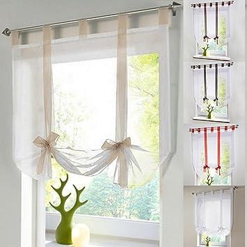 Raffrollo Schlaufen Gardine Vorhang Transparent für Wohnzimmer Hochzeit  Party Deko LianLe (XXL:140*140cm, Beige)