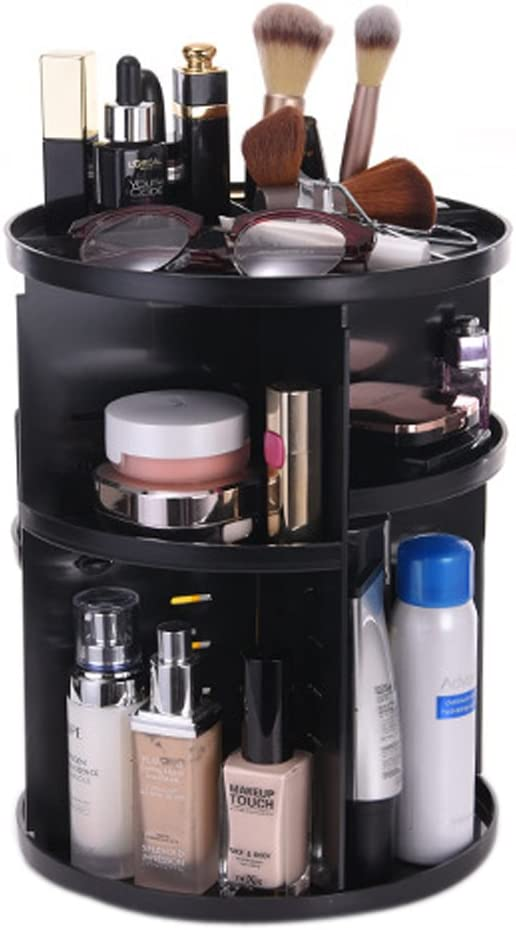 Tebery 360 Degree Rotation DIY Detachable Makeup Holder Adjustable Multi-Function Cosmetic Storage Box Black