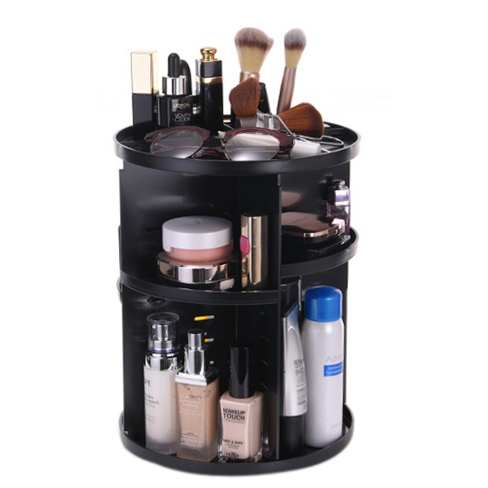 Tebery 360 Degree Rotation DIY Detachable Makeup Holder Adjustable Multi-Function Cosmetic Storage Box (Black)