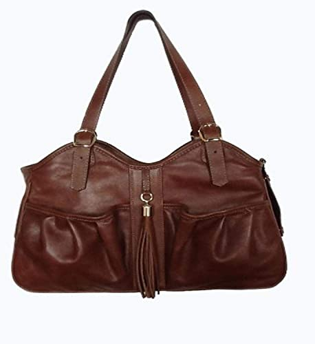 Petote Metro Couture All Leather with Tassel Dog Carrier, Toffee Brown, Petite