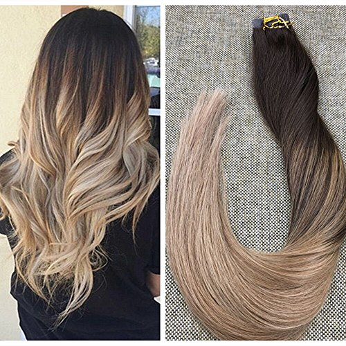 Ugeat 18inch Dip Dye Real Hair Extensions Balayage Ombre Tape in Human Hair Extensions Ombre Color #2 Brown and #6 Fading to #10 PU Tape Hair Extensions 20Pcs 50Gram