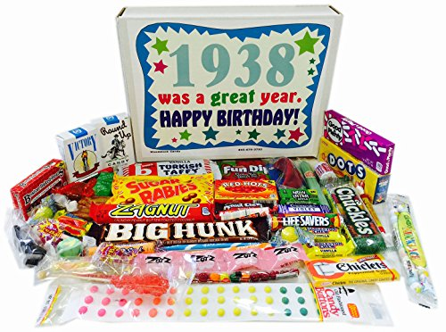 Woodstock Candy 80th Birthday Gift Box of Nostalgic Retro Candy from Childhood for an 80 Year Old Man or Woman Born in 1938