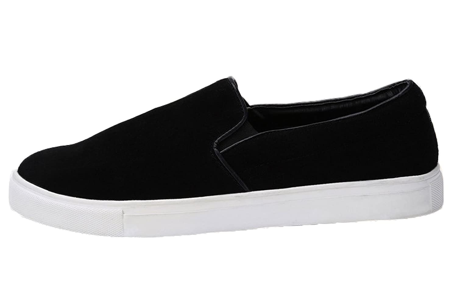 Plaid&Plain Men's Suede Leather Loafers Slip-on Flats Sneaker Shoes