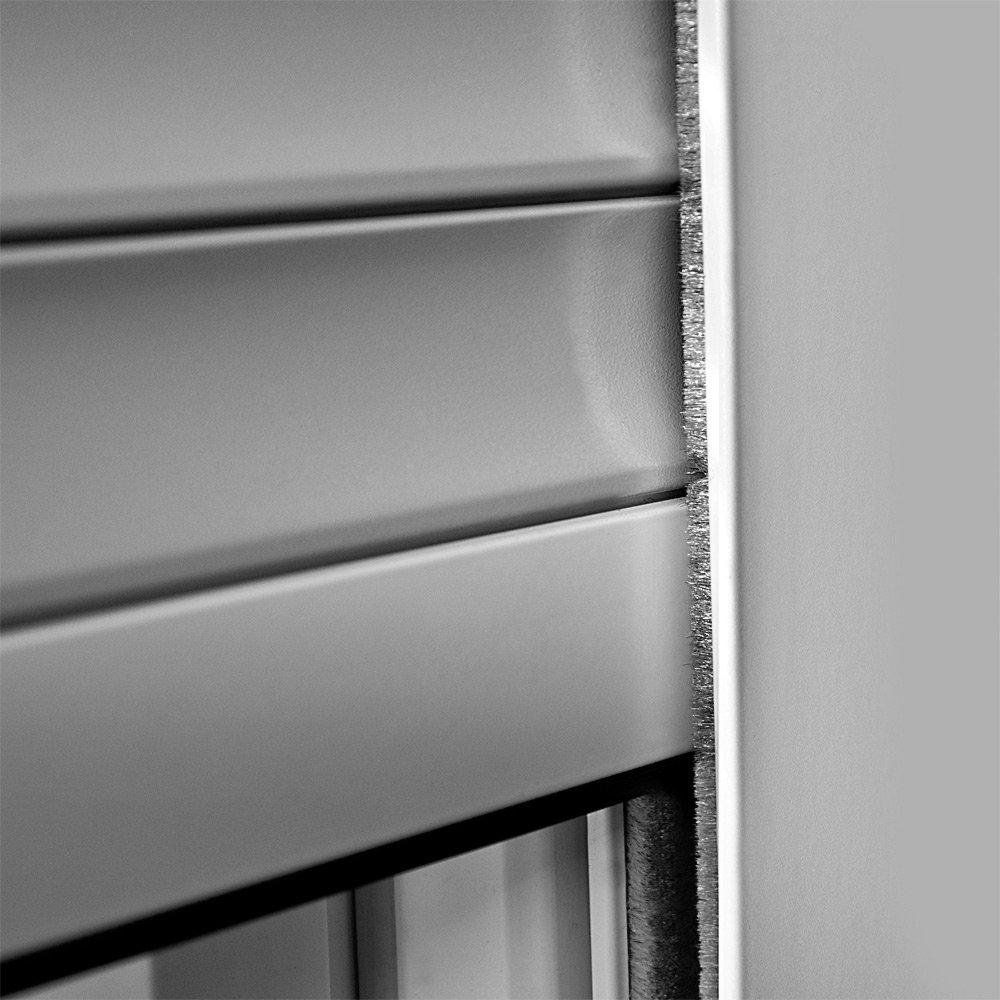 als Ma/ßanfertigung wei/ß /ähnlich RAL 9010 Bedienseite: Links, Vorbaurollladen Typ Corner 39mm Aluminium-Lamelle 105x130cm mit Gurtwickler