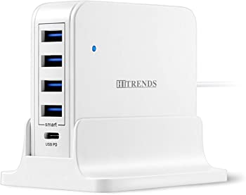Hitrends 4 USB Ports Charger Hub with USB Type-C PD Port (45W Max)