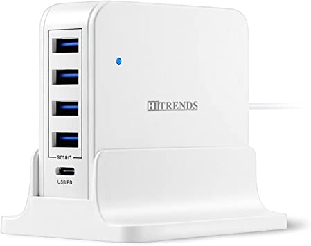 5V//2.4A Multi-Port Charging Hub for MacBook Pro//Air Laptops iPad Pro USB Charger Hub with USB Type-C PD Port 45W Max Desktop Charging Station with 4 USB Ports Tablets /& Multiple Devices