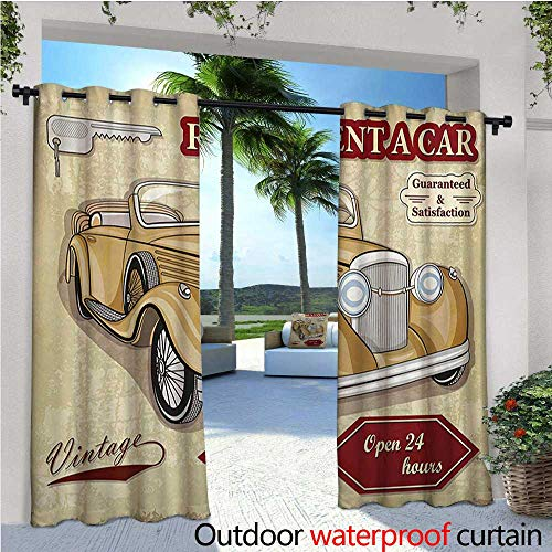 Cars Outdoor- Free Standing Outdoor Privacy Curtain Vintage Car Rentals Commercial Illustration Print Keys Original Dated Auto Objects Design for Front Porch Covered Patio Gazebo Dock Beach Home -
