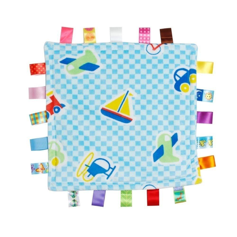 Infant Tag Blanket, Cute Baby Sleep Appease Towel Blanket, Ultra Soft Security Plush(11.81*11.81inch,Pink Flower Pattern) ICYANG