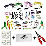 Fishing Lure Set For Bass CLEARANCE – Tackle Box Kit Combo For Freshwater, Kayaking – For Trout, Walleye – Swish n Flick – Compact Durable Plastic Organizer For Gear With Pliers + E-book For Sale