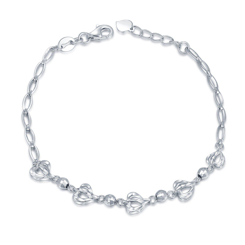 MaBelle 14K White Gold Diamond-Cut Infinity and Beads Bracelet (6.5'')