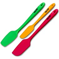 Professional Grade Silicone Spatula Set - (3 pack) - Heat-Resistant Non Stick Flexible Rubber Spatula Set with One Piece Seamless Design by Silchef