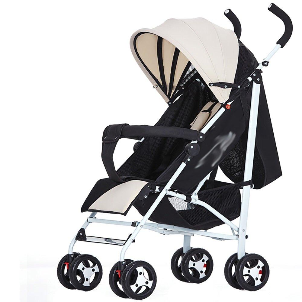 赤ちゃんのベビーカーは、リクライニング折りたたみポータブルベビーベビーカーショックアブソーバ赤ちゃんのベビーカーの子供四季ベビーカー47 * 60 * 100センチメートル座ることができます (色 : ナチュラル)  ナチュラル B07H89T82X