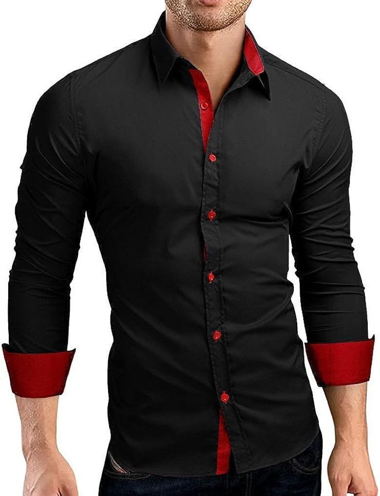 Men Luxury Formal Casual Business Shirts Long Sleeve Slim Fit Dress Shirt Blouse