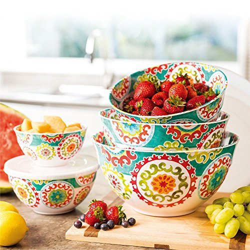 Melamine 10-Piece Bowl Set with lids Medallion Design