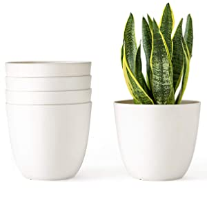Mkono 6.5 Inch Plastic Planters Indoor Set of 5 Flower Plant Pots Modern Decorative Gardening Pot with Drainage for All House Plants, Flowers, Herbs, African Violets, Foliage Plants, Cream White