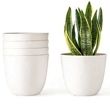 Mkono 6.5 Inch Plastic Planters Indoor Set of 5 Flower Plant Pots Modern Decorative Garden Pot with Drainage for All House Plants, Flower, Herb, Amaryllis, Foliage Plant, and Seed Nursery, Cream White