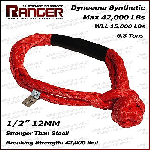 Ranger Soft UHMWPE Synthetic Shackle Rope 1/2 Inch (42,000 LBs Breaking Strength, WLL 15,000 LBs) by by RANGER ULTRANGER