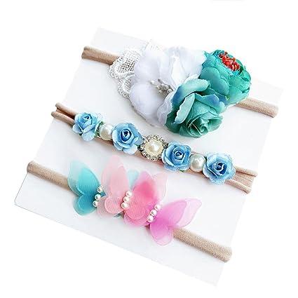 Diademas Bebé , ❤️Amlaiworld Diademas Bebe Niña Recien Nacidos 3pcs Moda Lindo Flores Diademas Niñas Elástica Banda Para El Pelo Cintas de pelo Bebe ...
