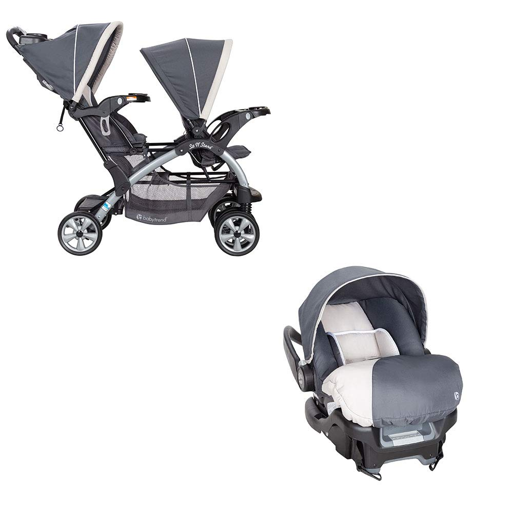 Baby Trend 5 Point Double Stroller & 35 LB Infant Car Seat w/Car Base, Magnolia by Baby Trend