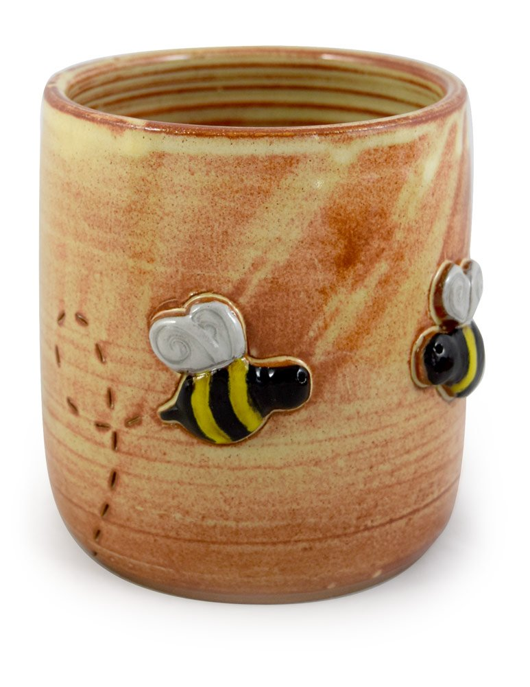 Modern Artisans American Made Stoneware Pottery Countertop Utensil Caddy Jar with Busy Bees Motif by Modern Artisans
