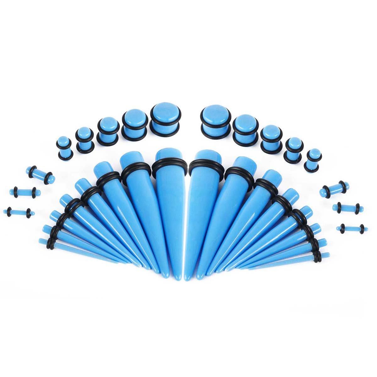 iDealhere 32pcs Acrílico Ahusamientos Piercing Tapones Túnel Oído Calibres Expansor Estirar kit (azul): Amazon.es: Hogar