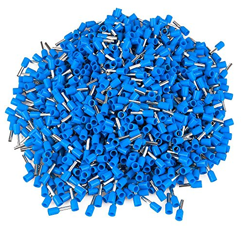 1000pcs 2.5mm² E2508 Tube Type Insulated Wire End Terminal for 14 AWG Cable